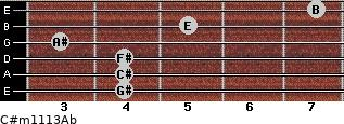 C#m11/13/Ab for guitar on frets 4, 4, 4, 3, 5, 7