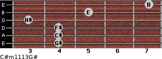 C#m11/13/G# for guitar on frets 4, 4, 4, 3, 5, 7
