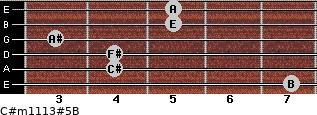 C#m11/13#5/B for guitar on frets 7, 4, 4, 3, 5, 5
