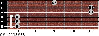 C#m11/13#5/B for guitar on frets 7, 7, 7, 11, 11, 9