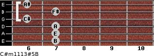C#m11/13#5/B for guitar on frets 7, 7, 7, 6, 7, 6