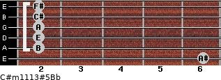 C#m11/13#5/Bb for guitar on frets 6, 2, 2, 2, 2, 2