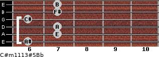 C#m11/13#5/Bb for guitar on frets 6, 7, 7, 6, 7, 7