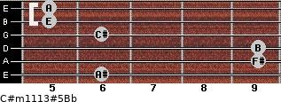 C#m11/13#5/Bb for guitar on frets 6, 9, 9, 6, 5, 5