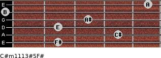 C#m11/13#5/F# for guitar on frets 2, 4, 2, 3, 0, 5