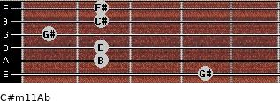 C#m11/Ab for guitar on frets 4, 2, 2, 1, 2, 2