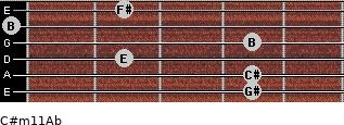 C#m11/Ab for guitar on frets 4, 4, 2, 4, 0, 2