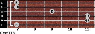 C#m11/B for guitar on frets 7, 11, 11, 9, 7, 7