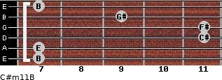 C#m11/B for guitar on frets 7, 7, 11, 11, 9, 7