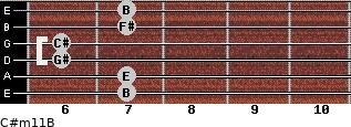 C#m11/B for guitar on frets 7, 7, 6, 6, 7, 7