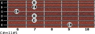 C#m11#5 for guitar on frets 9, 7, 7, 6, 7, 7