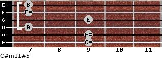C#m11#5 for guitar on frets 9, 9, 7, 9, 7, 7