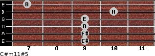 C#m11#5 for guitar on frets 9, 9, 9, 9, 10, 7