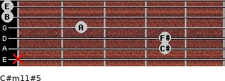 C#m11#5 for guitar on frets x, 4, 4, 2, 0, 0