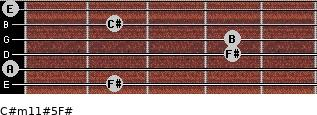 C#m11#5/F# for guitar on frets 2, 0, 4, 4, 2, 0