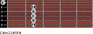 C#m11#5/F# for guitar on frets 2, 2, 2, 2, 2, 0