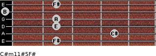 C#m11#5/F# for guitar on frets 2, 4, 2, 2, 0, 2
