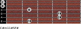 C#m11#5/F# for guitar on frets 2, 4, 4, 2, 0, 0