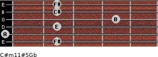 C#m11#5/Gb for guitar on frets 2, 0, 2, 4, 2, 2