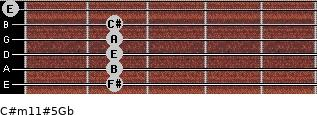 C#m11#5/Gb for guitar on frets 2, 2, 2, 2, 2, 0