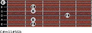 C#m11#5/Gb for guitar on frets 2, 2, 4, 2, 2, 0