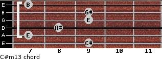 C#m13 for guitar on frets 9, 7, 8, 9, 9, 7
