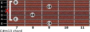 C#m13 for guitar on frets 9, 7, 8, x, 9, 7