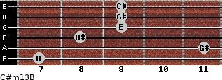 C#m13/B for guitar on frets 7, 11, 8, 9, 9, 9