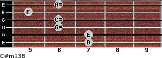 C#m13/B for guitar on frets 7, 7, 6, 6, 5, 6