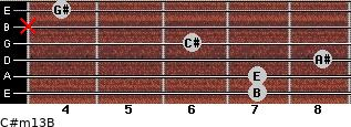 C#m13/B for guitar on frets 7, 7, 8, 6, x, 4