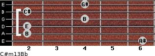 C#m13/Bb for guitar on frets 6, 2, 2, 4, 2, 4