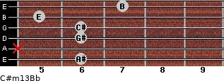 C#m13/Bb for guitar on frets 6, x, 6, 6, 5, 7