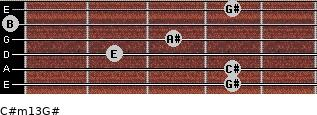 C#m13/G# for guitar on frets 4, 4, 2, 3, 0, 4