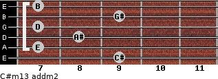 C#m13 add(m2) for guitar on frets 9, 7, 8, 7, 9, 7
