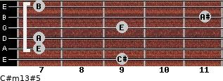 C#m13#5 for guitar on frets 9, 7, 7, 9, 11, 7
