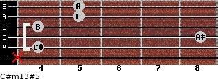 C#m13#5 for guitar on frets x, 4, 8, 4, 5, 5
