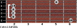C#m13#5/Bb for guitar on frets 6, 2, 2, 2, 2, 5