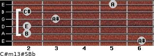 C#m13#5/Bb for guitar on frets 6, 2, 2, 3, 2, 5