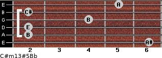C#m13#5/Bb for guitar on frets 6, 2, 2, 4, 2, 5