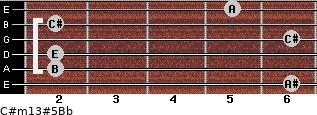 C#m13#5/Bb for guitar on frets 6, 2, 2, 6, 2, 5