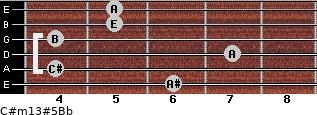 C#m13#5/Bb for guitar on frets 6, 4, 7, 4, 5, 5