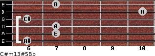 C#m13#5/Bb for guitar on frets 6, 7, 7, 6, 10, 7