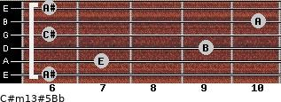 C#m13#5/Bb for guitar on frets 6, 7, 9, 6, 10, 6