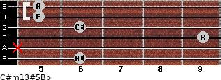 C#m13#5/Bb for guitar on frets 6, x, 9, 6, 5, 5