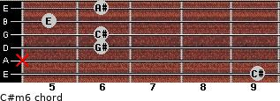 C#m6 for guitar on frets 9, x, 6, 6, 5, 6