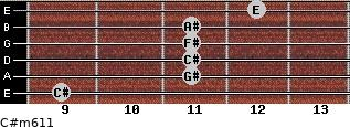 C#m6/11 for guitar on frets 9, 11, 11, 11, 11, 12