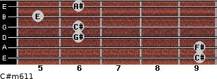 C#m6/11 for guitar on frets 9, 9, 6, 6, 5, 6