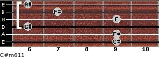 C#m6/11 for guitar on frets 9, 9, 6, 9, 7, 6