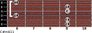 C#m6/11 for guitar on frets 9, 9, 6, 9, 9, 6