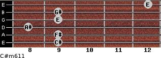 C#m6/11 for guitar on frets 9, 9, 8, 9, 9, 12
